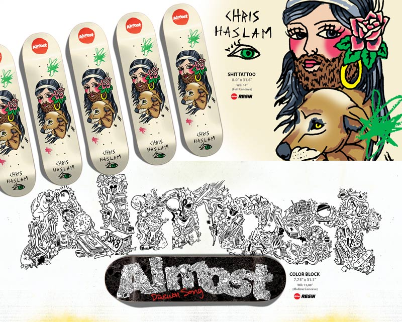 Almost Skateboards 2014 Haslam shit tattoo