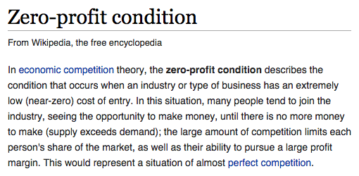 the zero profit condition